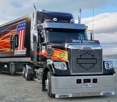 Black and chrome Freightliner Coronado to lead Harley-Davidson Thunder Ride.